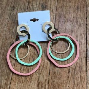 NWT Boho  Gold Green & Pink Hoop Dangle Earrings